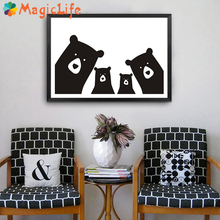 Cute Bear Family Animal Decor Wall Art Canvas Painting Black White Cartoon Poster Pictures For Nursery Kids Room Prints