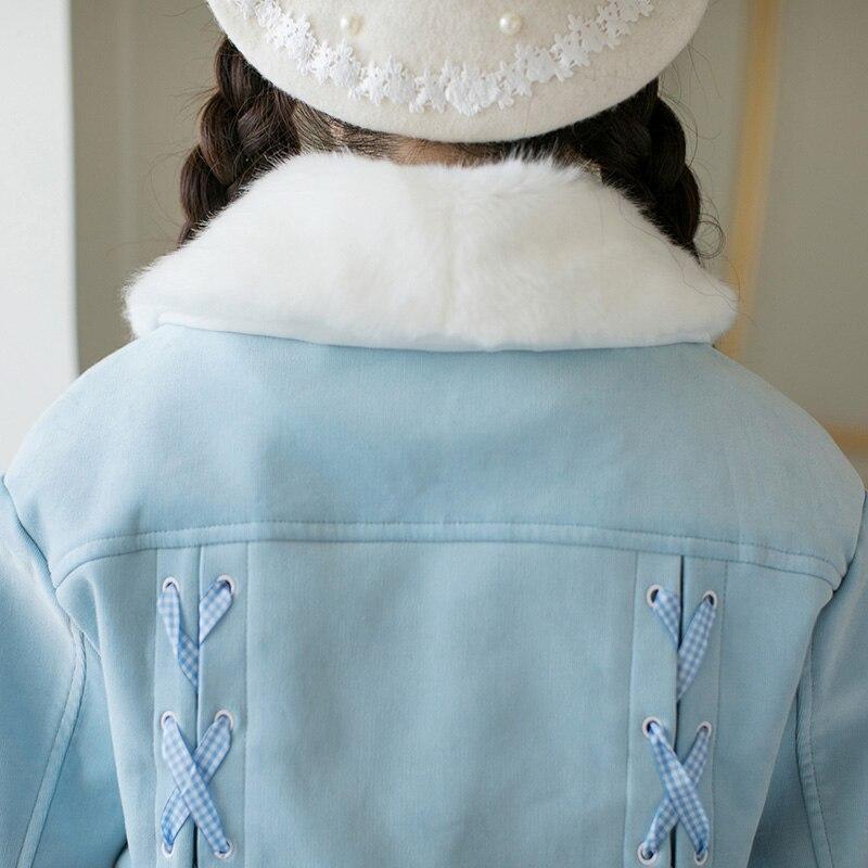 Tout short Longues Veste C22cd7294 Princesse Pluie Coat À Velours Lolita Manches Mince allumette D'hiver Douce Épaississement Revers Sucrerie De qwSnvUw7xF