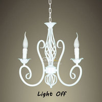 White Wrought Iron Chandelier vintage kitchen hanging Lamp retro rustic deco simple lamp lusters en hanglampen free shipping