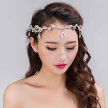 TREAZY Vintage Crystal Headband Bridal Hair Accessories Wedding Waterdrop Leaf Tiara Crown Bridesmaid Frontlet Hair Jewelry