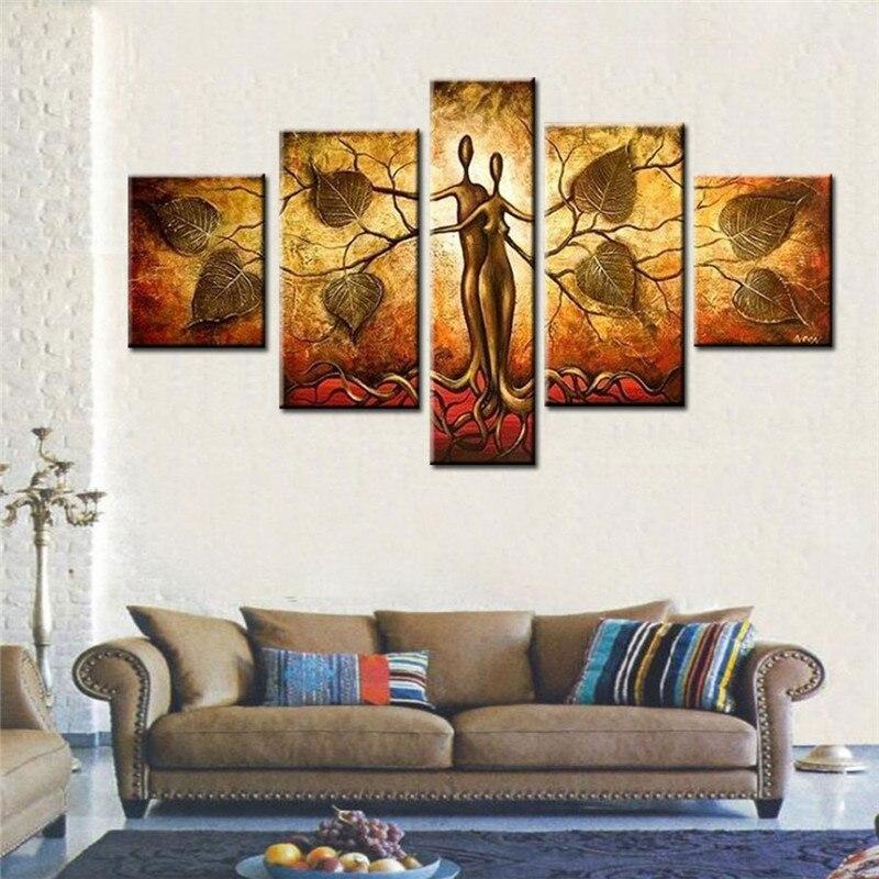 Ručně malované velké moderní abstraktní olejomalba na plátně strom malba šedá Stěna obrázek pro obývací pokoj Domácí dekorace dárek