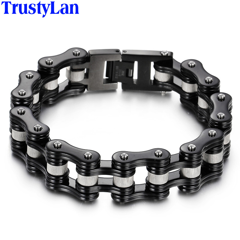 più recente e4fee 0dc5d US $17.93 5% OFF|TrustyLan Thick Bicycle Motorcycle Chain Bracelet Men  Jewelry Bracciale Uomo 316L Stainless Steel Mens Bracelets & Bangles  Gift-in ...