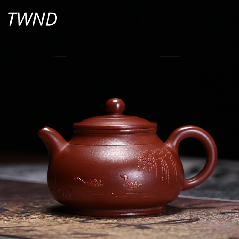 130CC yixing teapot dahongpao ni tea pot chinese kung fu kettle purple clay drinkware suit Tie
