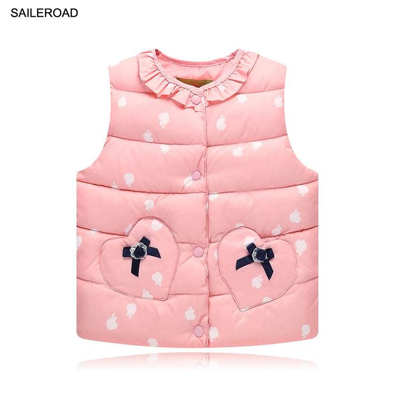SAILEROAD 2-7T Autumn Winter Sweet Children's Girls Jackets Cotton Warm Kids Vest For Girl Waistcoat Children Outerwear Clothing 2