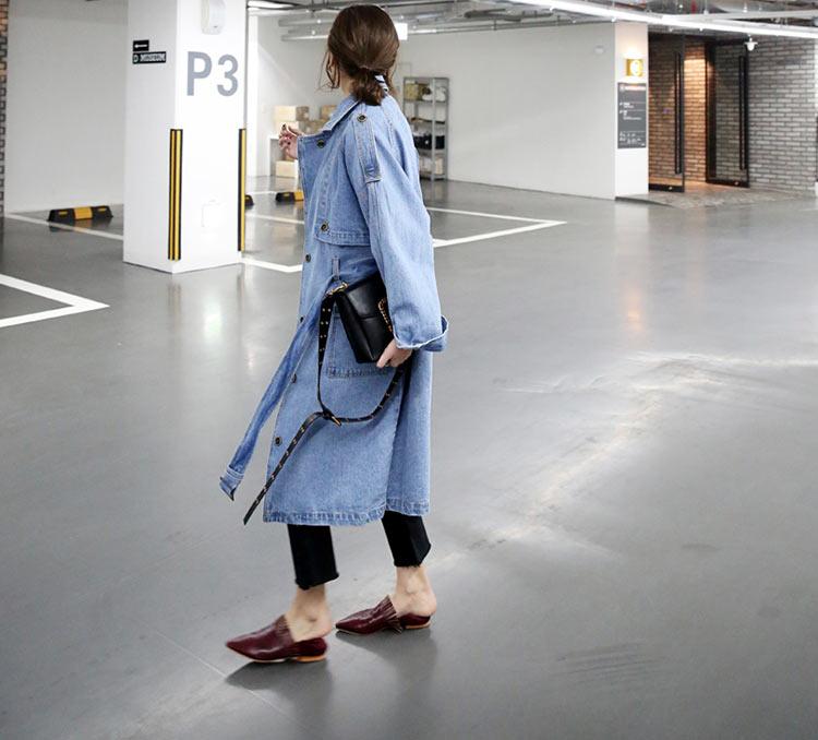 2017 Marée Denim Lâche Femmes Tranchée Printemps Manteau Grande Long Trench Ceinture Taille Fixer Nouvelle OZkXuPiT