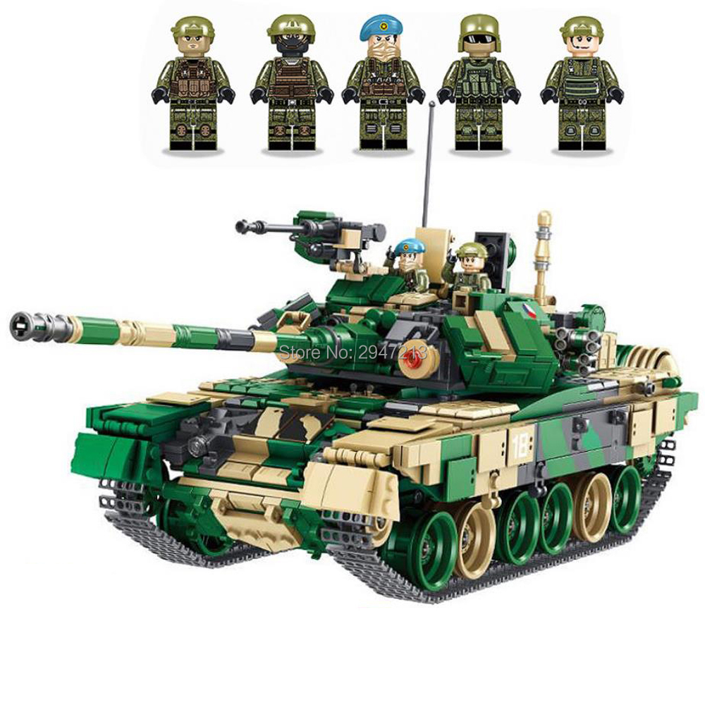 hot LegoINGlys military ww2 T-90 Heavy Main battle tank war Building Blocks model mini army figures brick toys for children gift 632004 1753pcs military world war israel m60 magach main battle tank 2in1 ww2 army forces building blocks toys for children gift