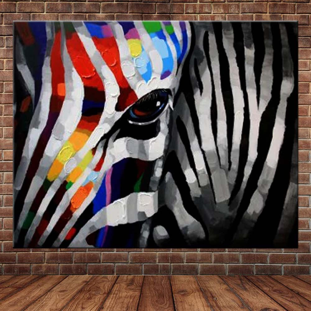 Hand Painted Abstract Animal Art Zebra Canvas Oil Painting Abstract Art Zebra Wall Picture Living Room