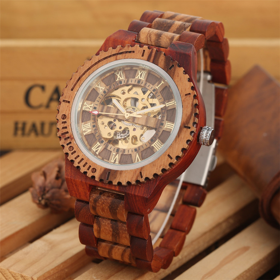 Bangle Watches Numerals-Display Automatic-Clock Wooden Mechanical-Self-Wind Roman High-Quality