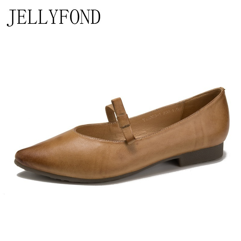 JELLYFOND Brand Sheepskin Women Flats 2018 Designer Genuine Leather Pointed Toe Loafers Handmade Mary Janes Shoes Woman women ladies flats vintage pu leather loafers pointed toe silver metal design