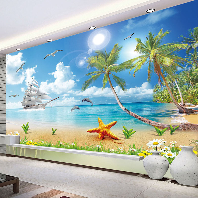 Custom Wallpaper For Walls 3D Seaside Landscape Beach Photo Mural Wall Paper Living Room TV Sofa Background Wall Papel De Parede