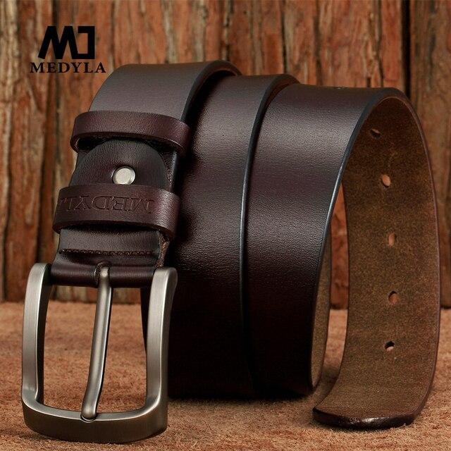 9904af59995 MEDYLA nouveauté ceinture en cuir italien hommes haute qualité Jeans  ceinture marque Vintage sangle pour hommes