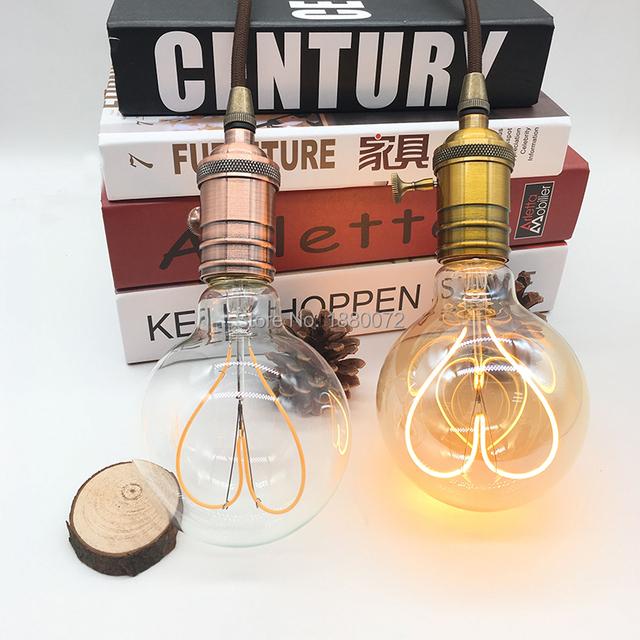 Dimmable soft flexible vintage led filament bulb G95 heart shape retro edison style led light bulb