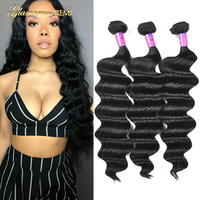 Unprocessed Virgin Hair Loose Wave Peruvian Human Virgin Hair 1 3 4 Bundles Loose Deep Wave Human Hair Weave Extensions Weft
