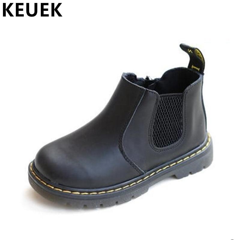 Autumn Winter Children Warm Ankle font b boots b font Genuine leather Plush Cotton shoes Boys
