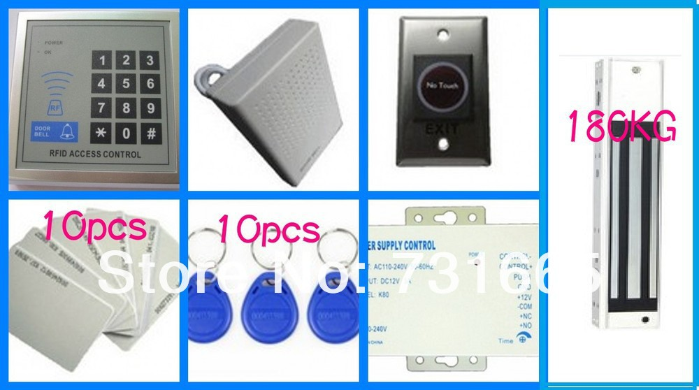 Access Control + Electromagnetic lock 180KG + Infrared switch + Door bell+ID Card+ID Key+Power Supply