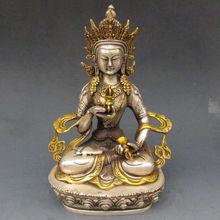 Vintage Tibet OldSilver Copper Gilt Tibetan Buddhism Statue -- White Tara Buddha