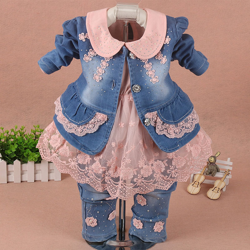 Spring coat dress jeans 3pcs set for newborns baby girls clothes fashion design lace clothing 1st babies birthday Christmas sets