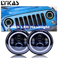 7 Inch 90W Led Angel Eyes Daymaker Motorcycle Headlight H4 DRL Halo Angel Eye For Jeep