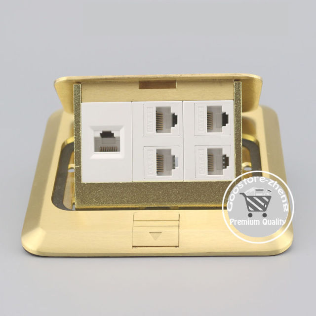 bronze pop up 5 port rj45 cat5e lan network socket floor ground outlet receptacle