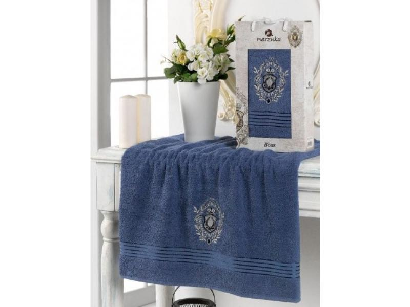 цена на Towel bath merzuka, BOSS, 70*140 cm, dark blue
