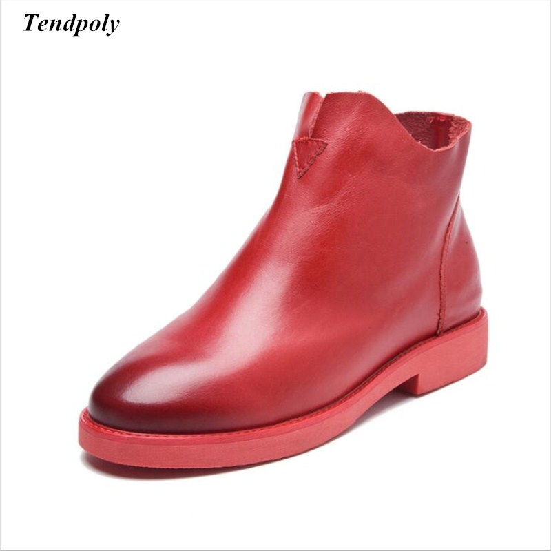 Autumn winter 2018 new short Female Women's boots are a soft bottom shoes size (35-38) of hot blast paint casual leather shoes short boots woman the fall of 2017 a new restoring ancient ways british wind thick boots bottom students with martin boots