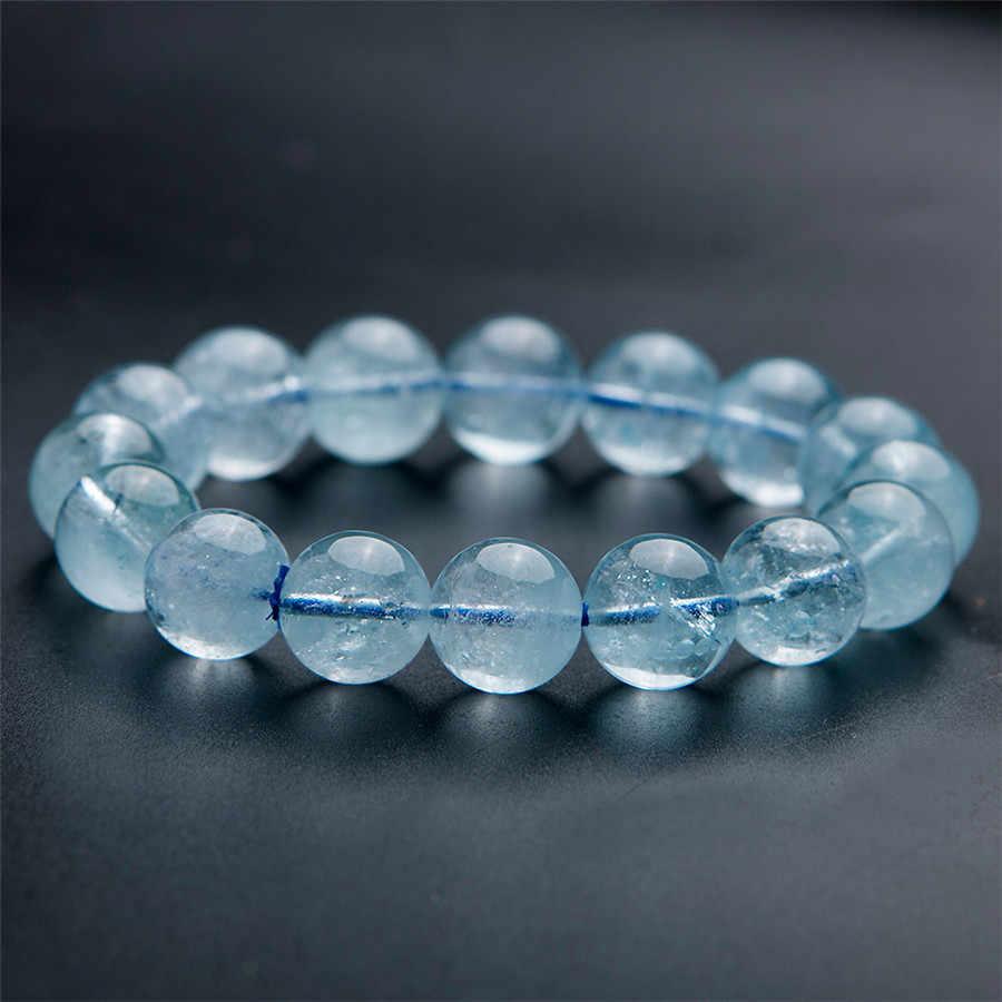 Prawdziwy niebieski naturalny Topaz bransoletki kobiety mężczyźni Stretch wyczyść uzdrowienie kryształ okrągły koralik bransoletka 12mm 13mm 14mm 15mm