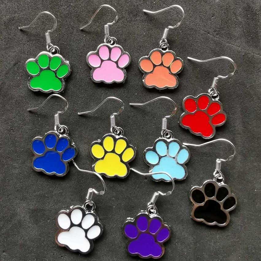 Mix Design Drop Earrings Enamel Pet Dog Cat Foot Paw Print Dangle Earring For Women Christmas Gift Fashion Jewelry Shipping
