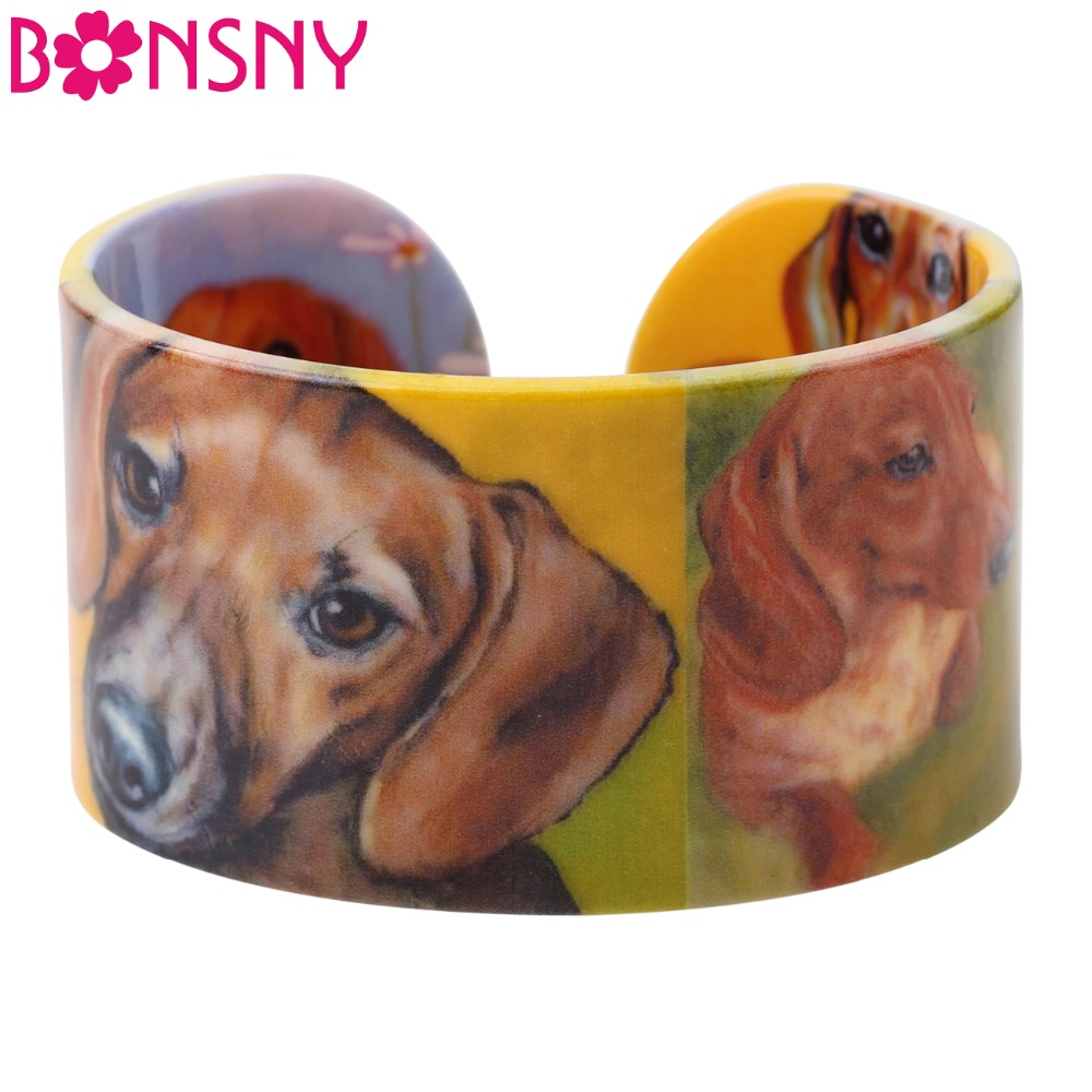 Bonsny Acrylic Cute Colorful Pattern Dachshund Bangle News 2017 Fashion Jewelry Women Girl Spring Summer Accessories Bracelets