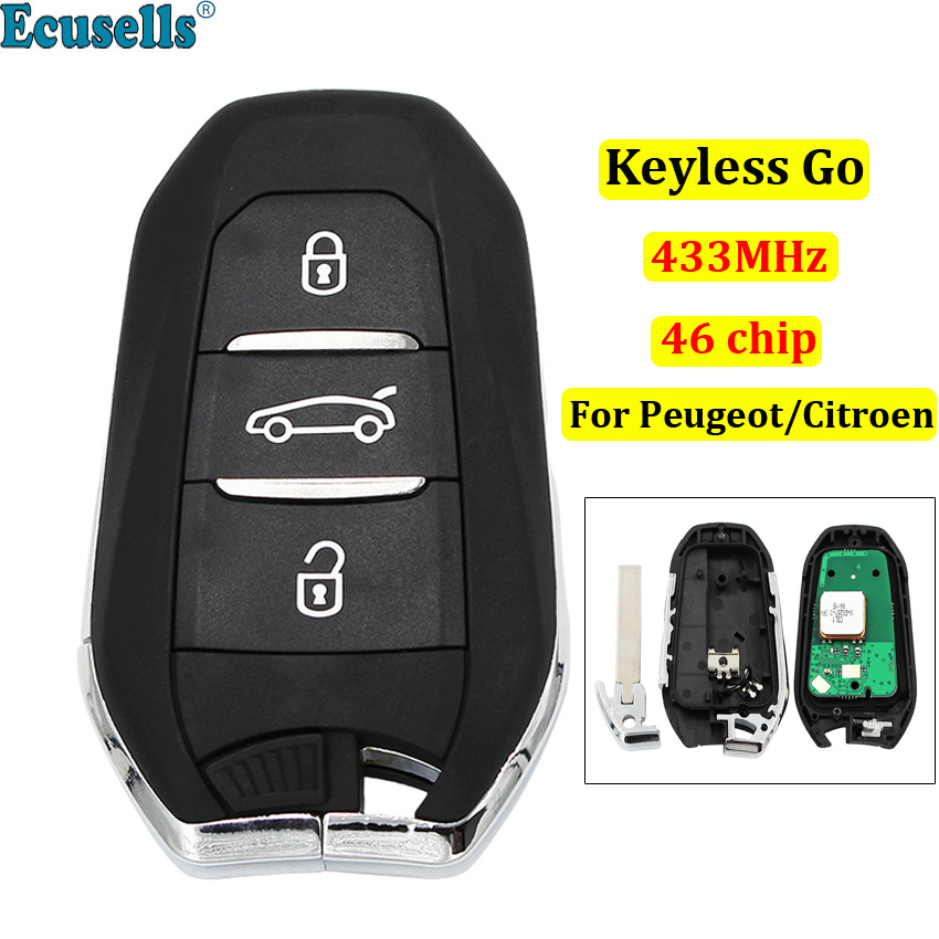 DS smart keyless go remote <font><b>key</b></font> 3 buttons 433MHz PCF7945 46 chip for <font><b>Peugeot</b></font> <font><b>308</b></font> 508 for Citroen C4 DS4 DS5 emergency <font><b>key</b></font> HU83 image