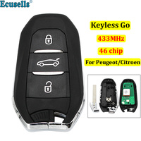 DS smart keyless go remote key 3 buttons 433MHz PCF7945 46 chip for Peugeot 308 508 for Citroen C4 DS4 DS5 emergency key HU83