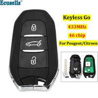 DS smart sin llave go remoto 3 botones 433MHz PCF7945 46 chip para Peugeot 308 508 para Citroen C4 DS4 DS5 llave de emergencia HU83
