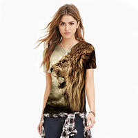 2017 Hot Sale Summer Lion Print 3D Women S T Shirt Animal Sexy Fashion T Shirts