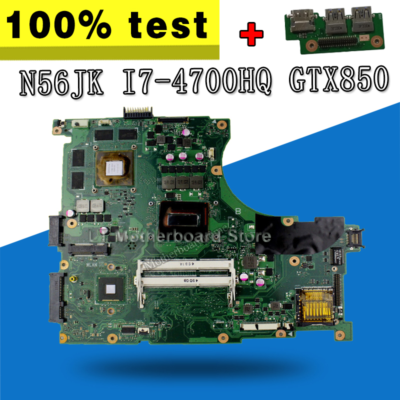 send board+N56JK Motherboard REV 2.0 GTX850M i7-4700HQ For ASUS N56JK G56JK Laptop motherboard N56JK Mainboard N56JK Motherboard цена