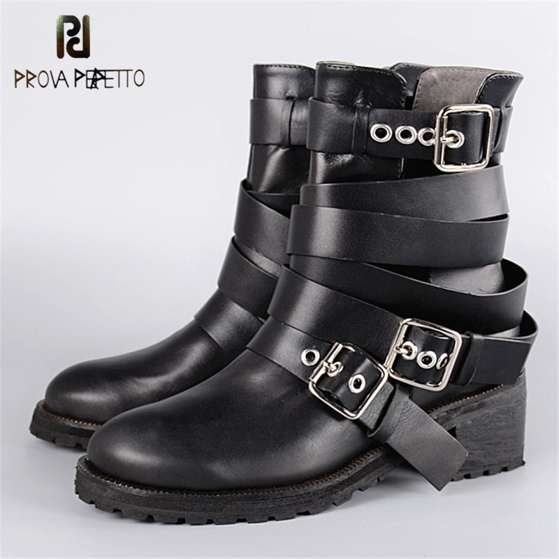 Prova Perfetto Female Genuine Leather Naked Ankle Boots Woman British Chelsea Short Boots Buckle Strap Thick Heel Retro BootsProva Perfetto Female Genuine Leather Naked Ankle Boots Woman British Chelsea Short Boots Buckle Strap Thick Heel Retro Boots