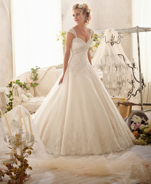 New Designed 2015 Beaded Lace Wedding Gowns Ivory Cap Sleeve