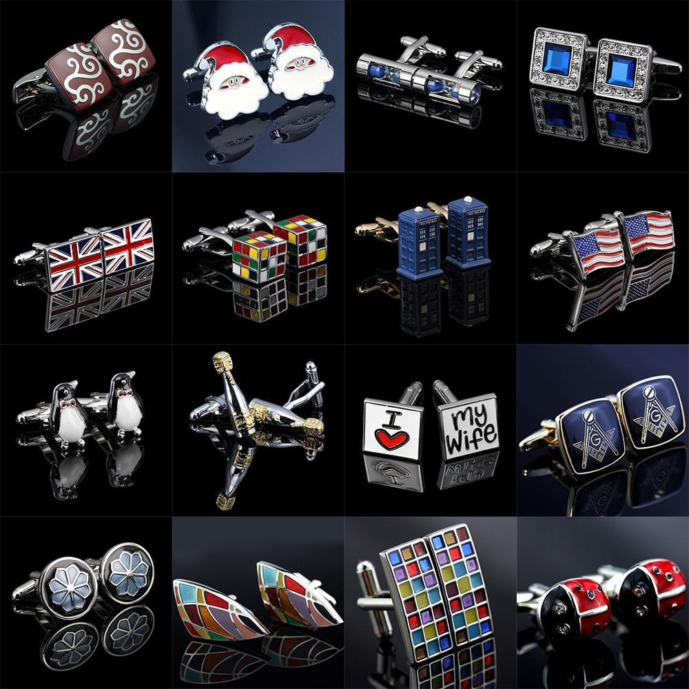 MeMolissa Trendy Colorfu Cufflinks 18 Styles Penguin/Cube/Hourglass/Flag/Santa Claus Luxury Cufflinks For Men Abotoadura