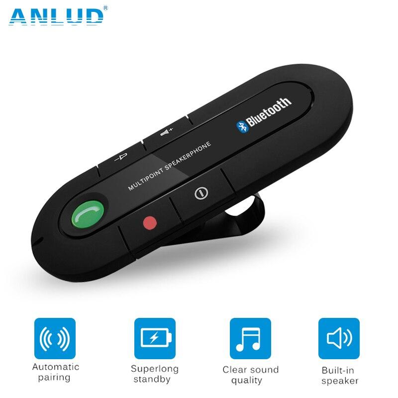 ANLUD Bluetooth manos libres Kit de coche inalámbrico Bluetooth altavoz teléfono MP3 reproductor de música visera Clip altavoz con cargador de coche