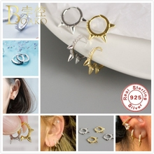 BOAKO Small Hoop Earrings 925 Sterling Silver For Women/Men Punk Earring Gold Gothic Girl Mini Circle aretes Z5