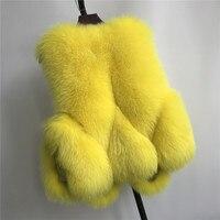 100% Winter Real Fox Fur Vest Women Luxury Natural Fox fur Gilet Warm Outwear Waistcoat Lady Fashion Real Genuine Fox Fur Vest