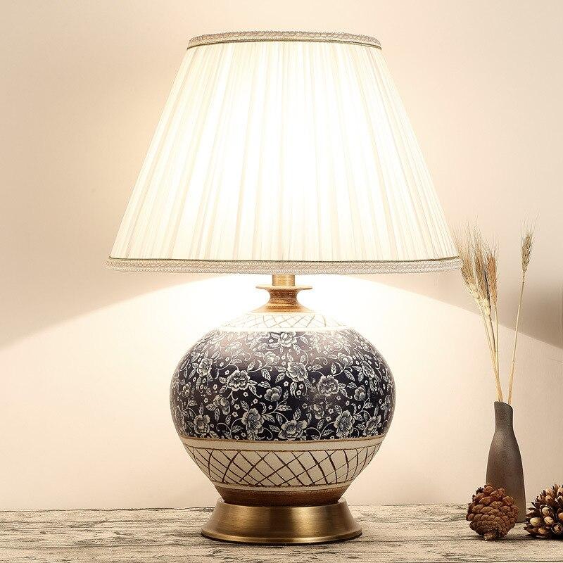 TUDA 38X54 cm Livraison gratuite Chinois Style Classique Lampe de Table En Céramique Lampe de Table Pour Salon Chambre LED Lampe de Table E27