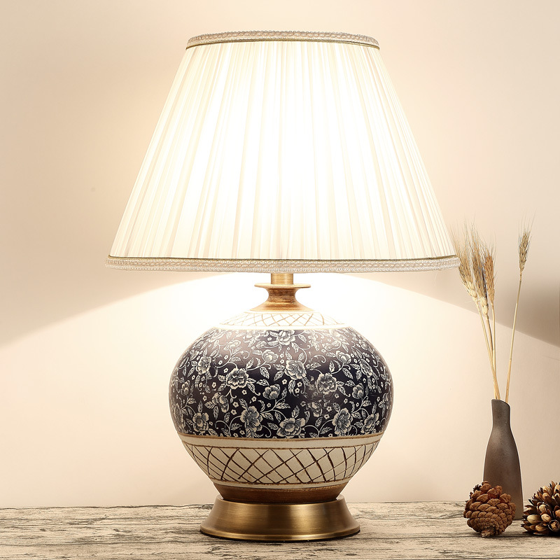 TUDA 38X54cm Free shipping Chinese Classical Style Table Lamp Ceramic Table Lamp For Living Room Bedroom