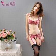 2017 Women Sexy Bra Set Intimates Embroidery Sheer Half Cup Lingerie Thin Temptation Bra and Panty with Garters Sets Plus Size