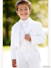 Hot sale White kid suits Custom-made boy wedding suit Boy's Attire Groom Tuxedos children clothing (Jacket+Pants+Vest