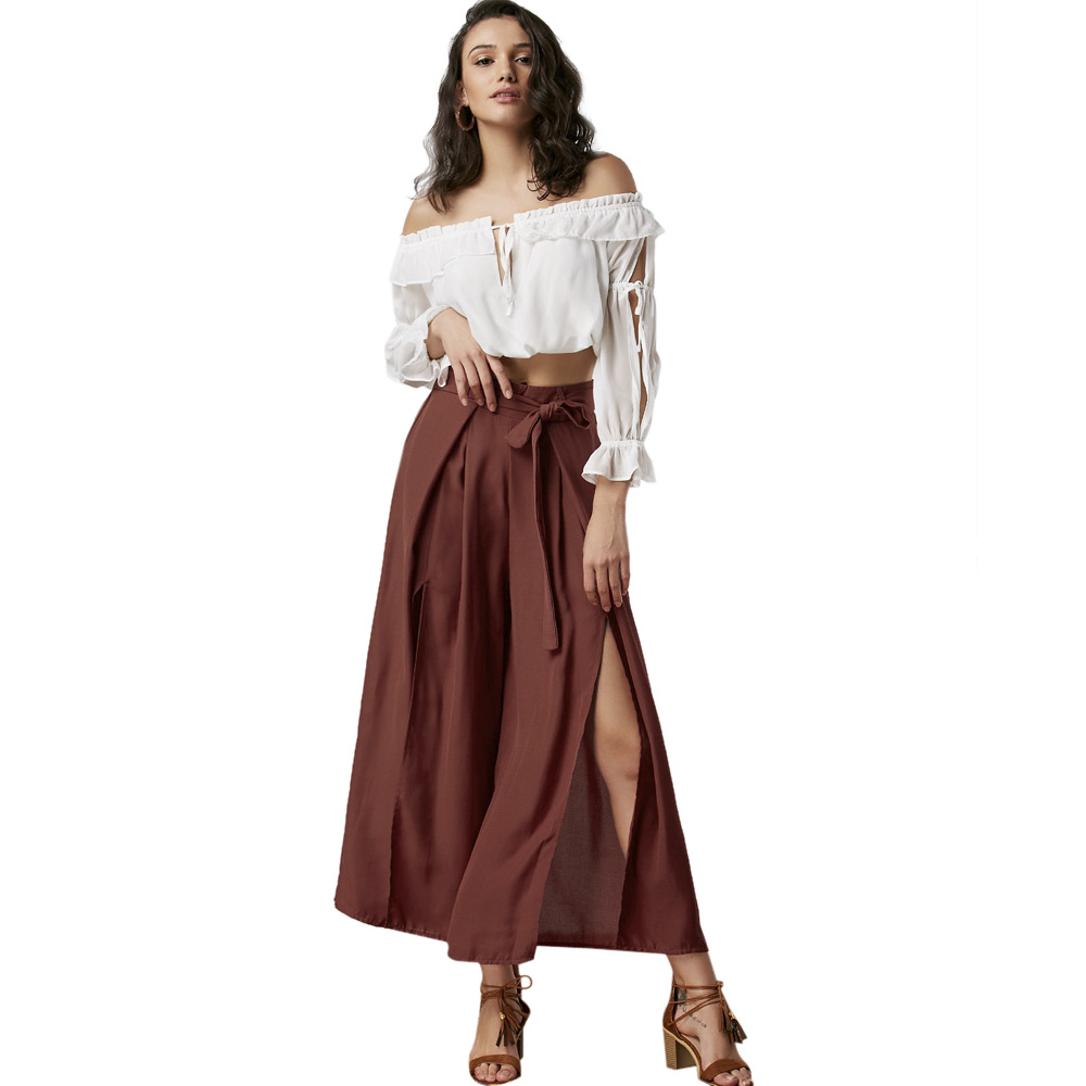 New summer Italian fashion personality casual irregular open high waist   wide     leg     pants