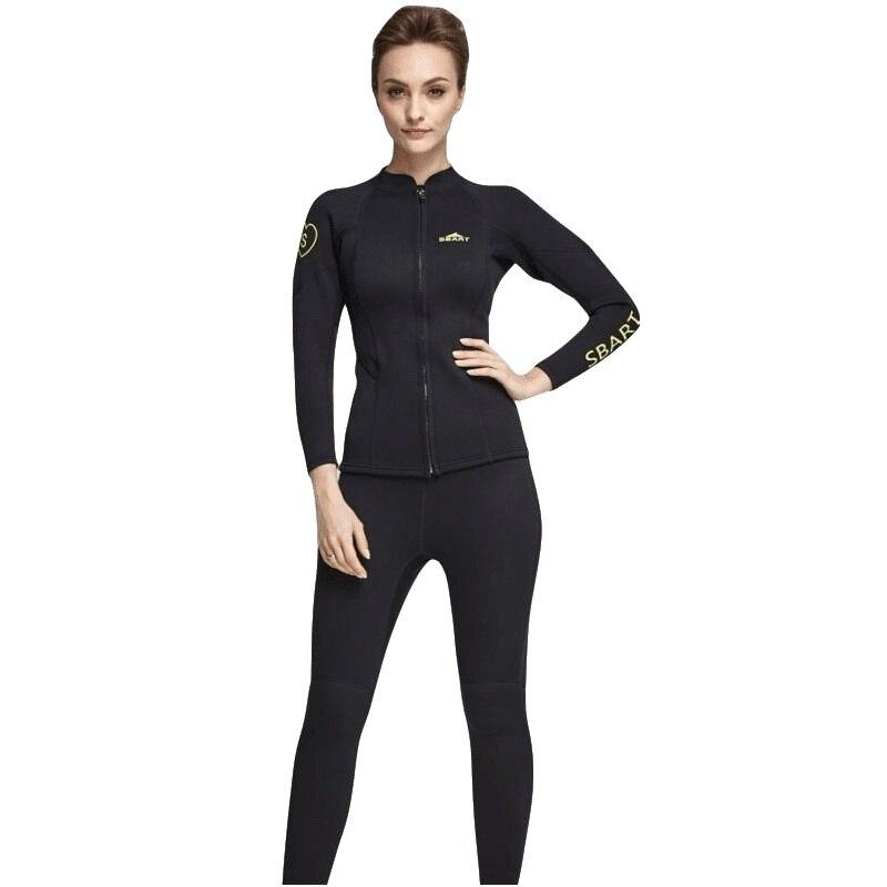 все цены на 2018 Women Wetsuit Two piece 2mm Neoprene Swimsuit Dive Surf Swim Suit Swimwear Spearfishing Long sleeve Beach Wear Large Size