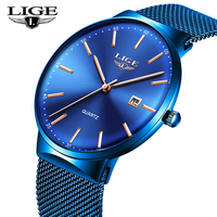 LIGE Mens tainless steel Watch Waterproof Analogue Wristwatches Mens Business Top brand luxury Quartz Watches For Man Clock