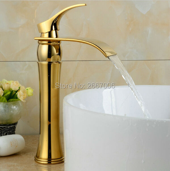 Free shipping Vanity Faucet Design Wide Spout Copper tap Bathroom Golden Polished Waterfall Basin Mixer Faucet Tap Tall ZR460Free shipping Vanity Faucet Design Wide Spout Copper tap Bathroom Golden Polished Waterfall Basin Mixer Faucet Tap Tall ZR460