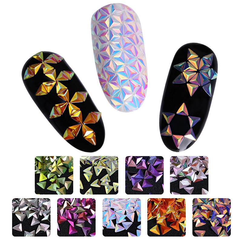 Unicorn Nail Glitter Sequins Chameleon AB Color Triangle Iridescent Flakes Paillettes Tips 3D Nail Art Decoration
