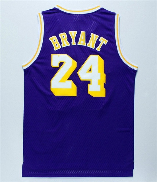 971baf651d32  24 Kobe Bryant Jersey Retro Yellow Purple Kobe Bryant Basketball Jersey  Embroidery Logo Top Quality Mix Order