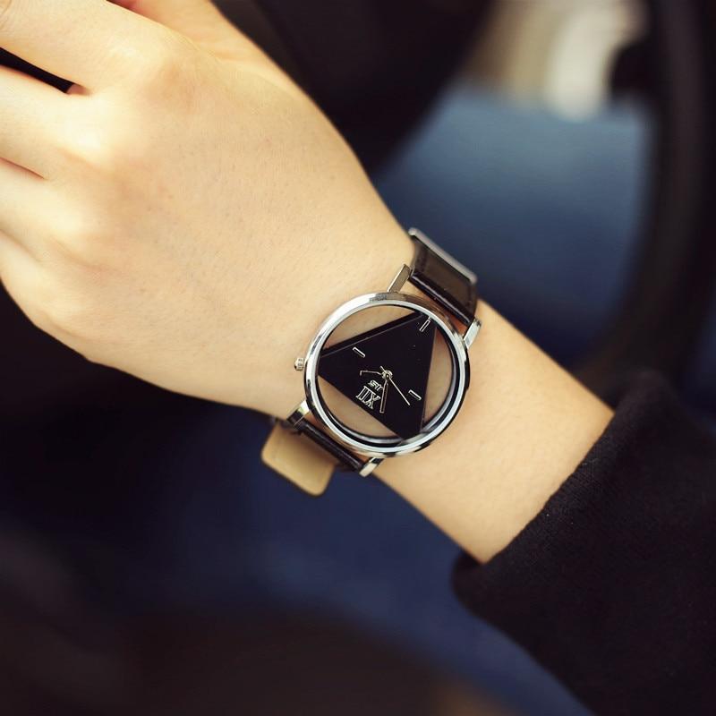 Moda hollow üçgen kadınlar kuvars saatler basit yenilik ve - Kadın Saatler - Fotoğraf 2